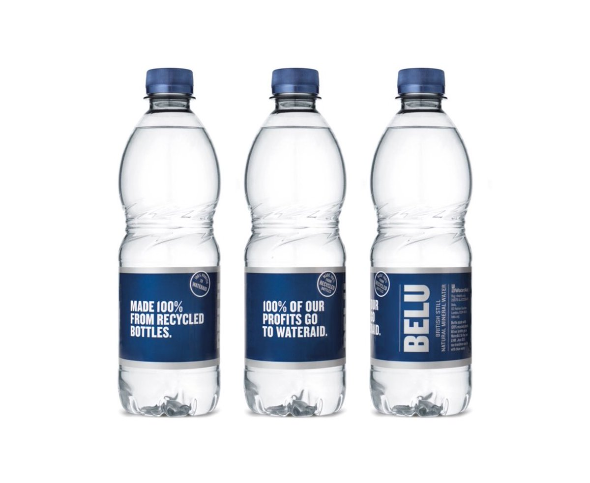 Belu bottles made from recycled plastic